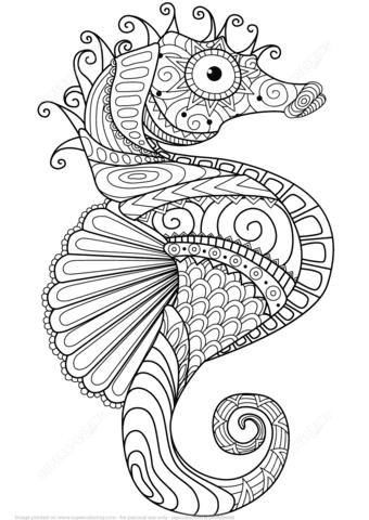 Dibujo De Caballito De Mar Zentangle Para Colorear Dibujos Para
