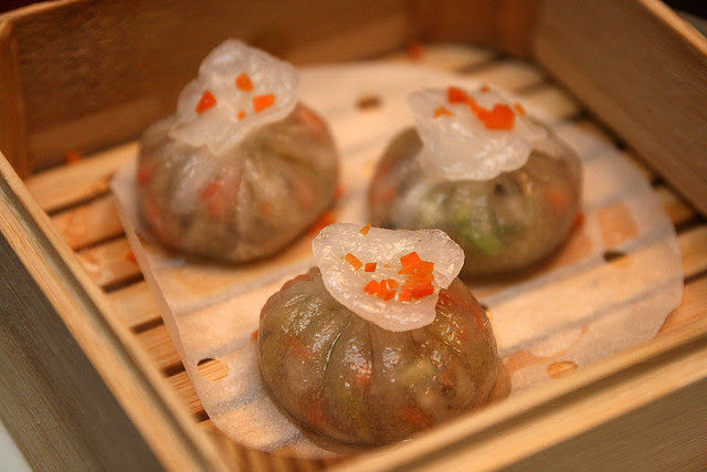 Steamed Mushroom Dumpling with Asparagus, Celery and Carrot