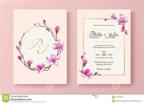 Pink Floral Wedding Invitation Card. Vector. Magnolia
