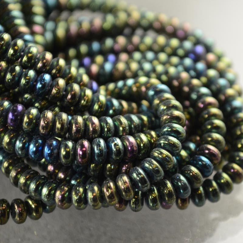 s36372 Glass Beads - 4 mm Tire Rondelles - Green Iris (Strand 100)