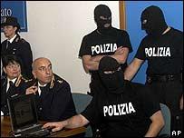 Italian policemen involved in the Perugia raid