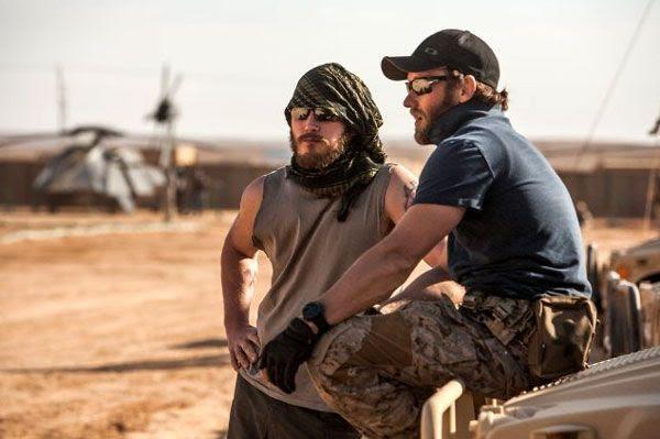 SEAL Team 6 operators Patrick (Joel Edgerton) and Justin (Chris Pratt) confer at a U.S. base in Afghanistan...in ZERO DARK THIRTY.