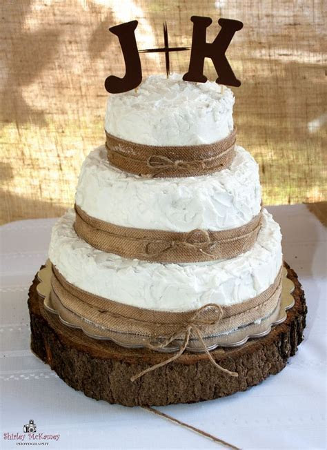 3 Tier Wedding Cake Decorated With Burlap Ribbon & Twine