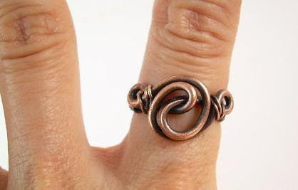 Size 6 Ring Antique Copper Ring Rustic Ring Oxidized Copper Ring  Finger RIng Wire Unisex  Wire Wrapped Jewelry Handmade