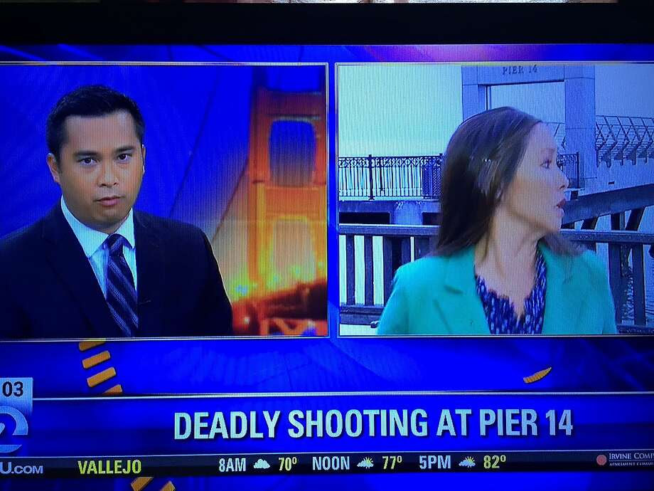KTVU reporter Cara Liu reacts as news crews are attacked by a robber in San Francisco on July 2, 2015. Anchor Brian Flores is seen at left. Photo: Screen Capture