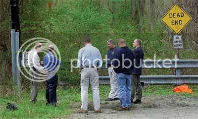 police gather at Bedford, NY crime scene
