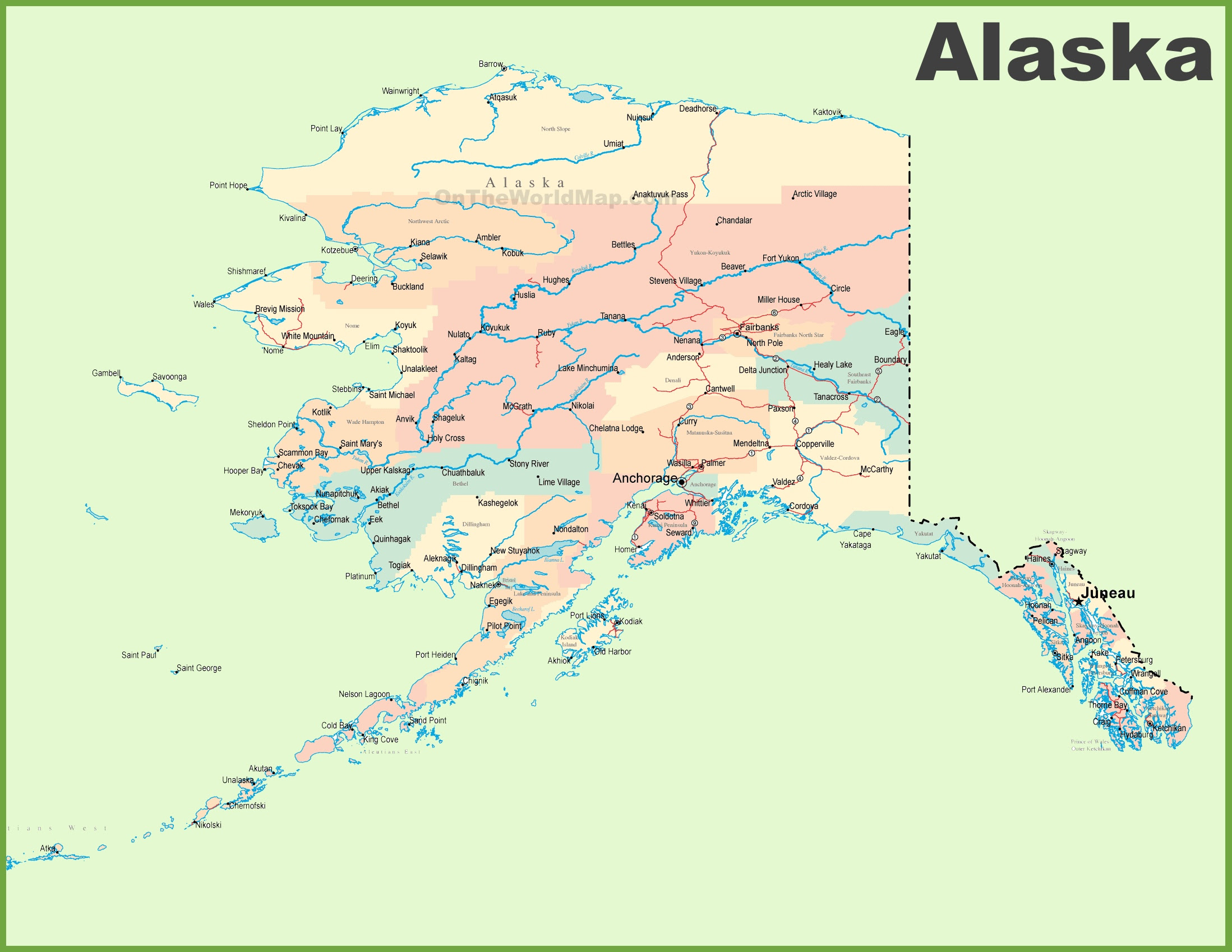 state map of alaska Map Of Alaska United Airlines And Travelling