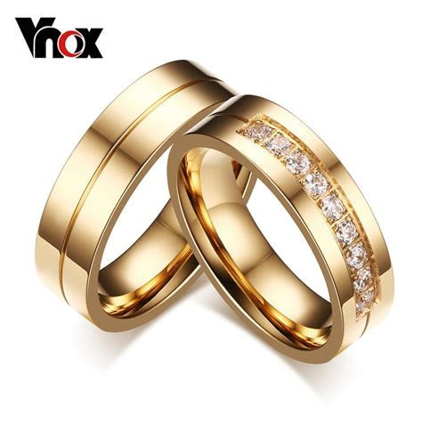 Vnox Trendy Wedding Bands Rings for Women / Men Love Gold