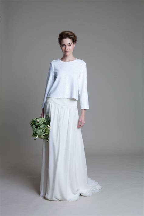 Laura ivory chiffon skirt with drop waist and box sequin
