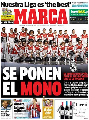 portada del sábado del diario Marca española lidera con Madrid 'que pone en sus monos'