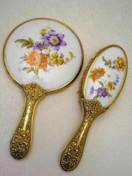 Antique Vanity Hand Mirror Brush Dresden Flower