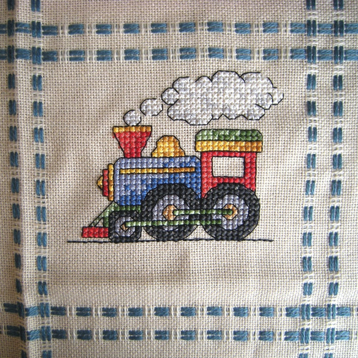 Cross Stitch - Train panel for Kids Company Project - stitched March 2010