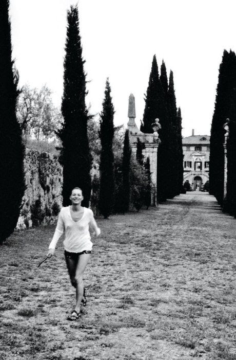 Kate Moss amid the towering cypress trees, summer 1998.