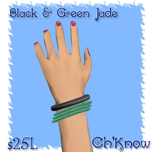 Black & Green Jade Bangles