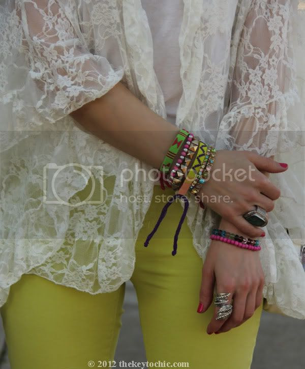 Free People lace kimono, J Brand neon jeans, friendship bracelets, layered bracelets, Los Angeles fashion blogger, southern California fashion blog