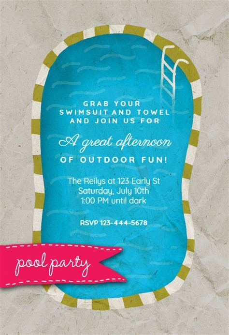 A Pool   Pool Party Invitation Template (Free)   Greetings