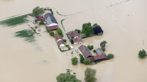 Submerged houses in Germany after floods