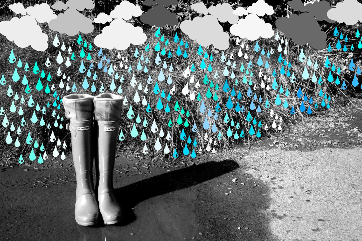Spring Showers Fleece Rain Boot Wellington Liners SLUGS in Turquoise with a Tie-Dye Cuff, Rainy Day Style (SM/MED 6-8 Boot) - WithTheRain