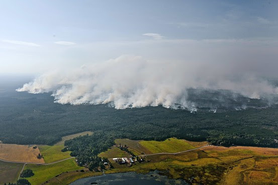 Sala Fire Races Across a local hillside on Monday