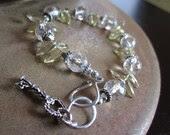 AAA Lemon Quartz, AAA Rock Crystal Quartz, Fine Silver & Sterling Silver-Blissful Bracelet