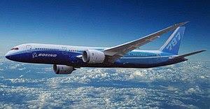 Artist impression of Boeing 787-9 Dreamliner.