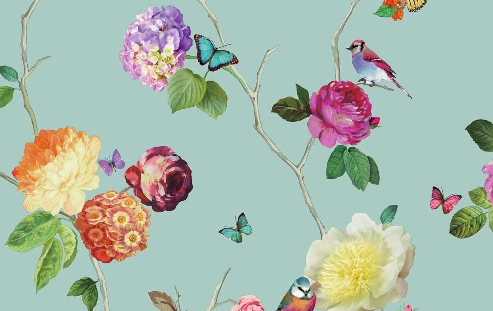 Removable Water-Activated Wallpaper Floral Flowers Botanical Butterflies Grey