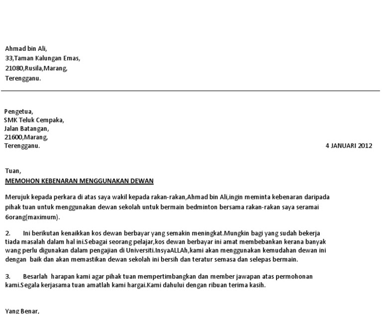 Contoh Surat Rasmi Permohonan Menggunakan Dewan