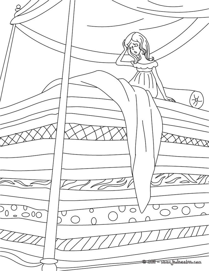 Coloriages coloriage conte la princesse au petit pois fr hellokids