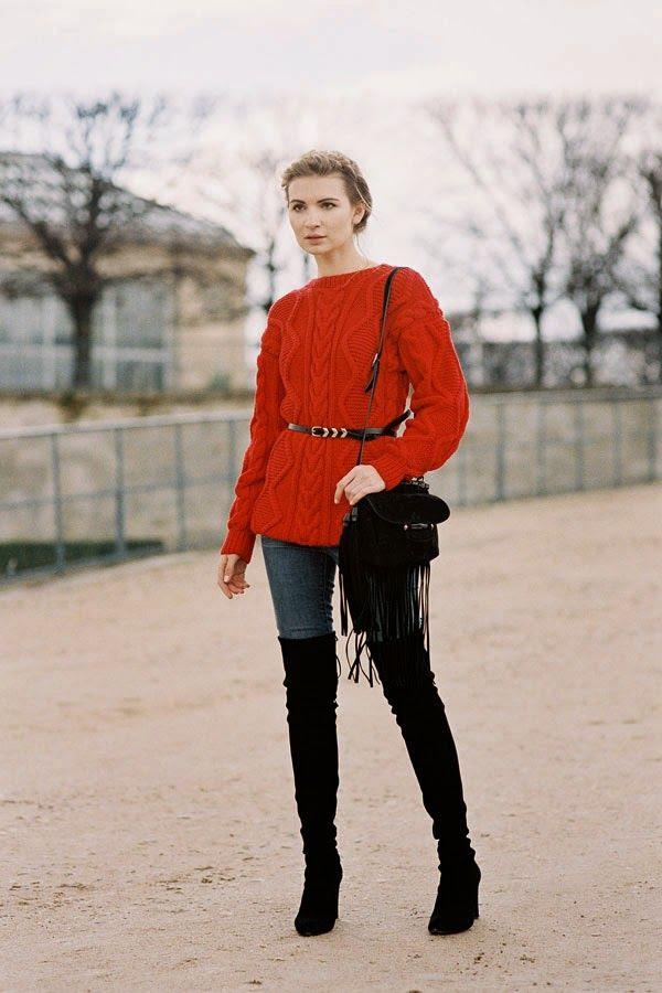 Style crushing on her OTK boots + denim + bright knit