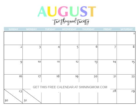2020 Calendar August Printable
