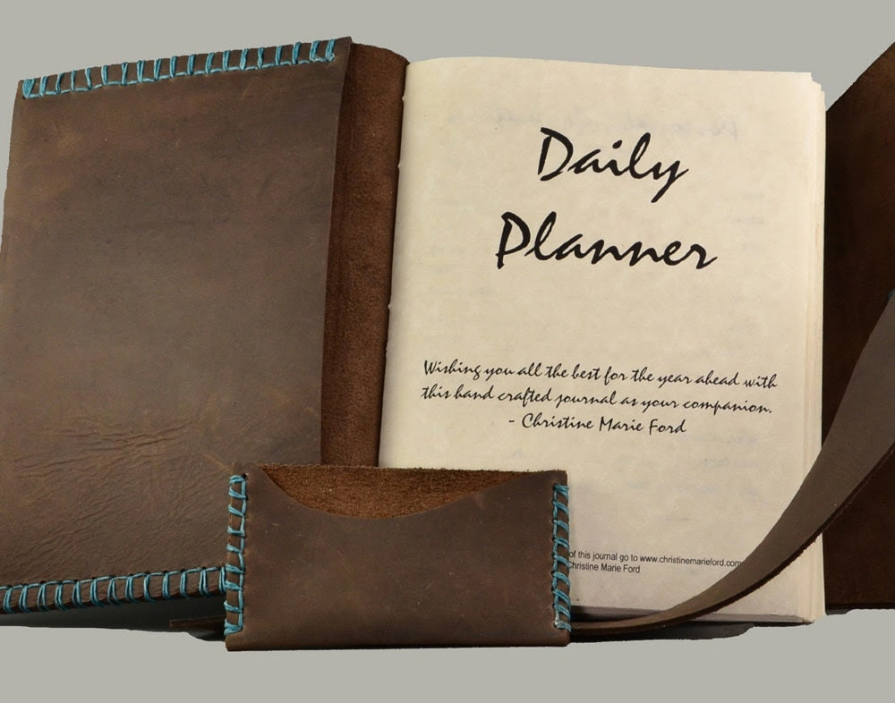 Custom Leather Day Planner for the by christinemarieford on Etsy