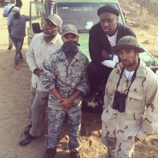 Terrence J, David Banner na Chaka Zulu wakiwa kwenye gari la safari