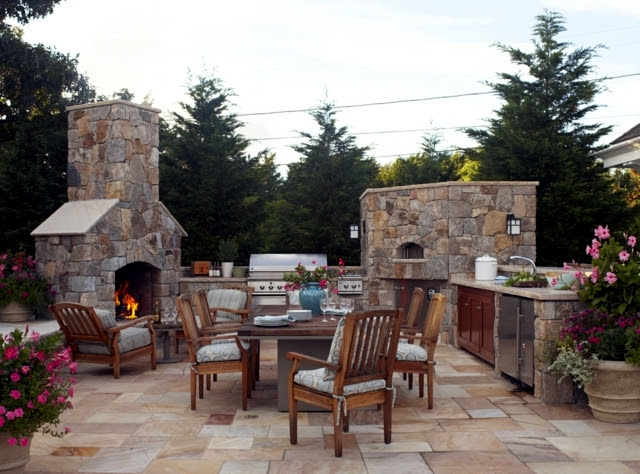 stone barbecue fireplace the highlight in the garden 0 681