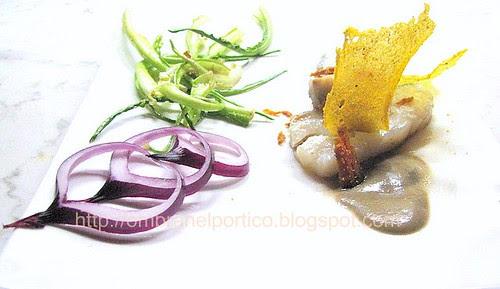 Baccalà dissalato, crema di lenticchie, bottarga e puntarelle