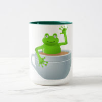 Frog in a Tea Two-Tone Coffee Mug