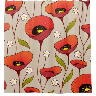 Red Poppies Fine Girly Floral Retro Shower Curtain