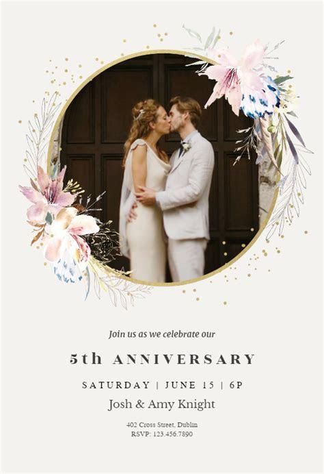 Whimsical wreath   Anniversary Invitation Template (Free