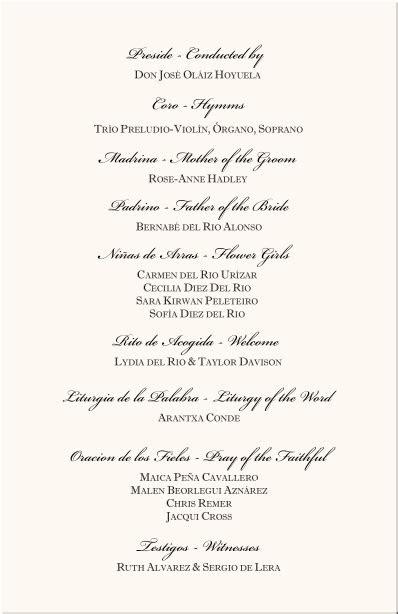 programs   wedding spanish wedding program examples