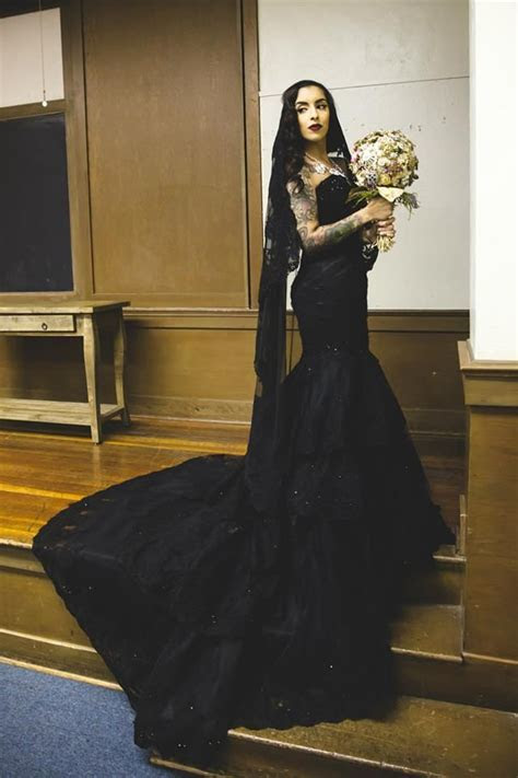 Buy Custom Black Gothic Wedding Dress, made to order from