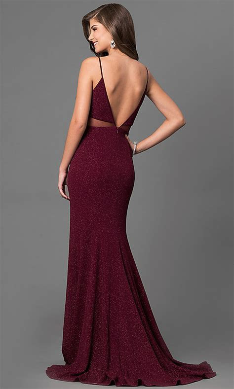 Long Metallic Jersey Burgundy Red Prom Dress PromGirl