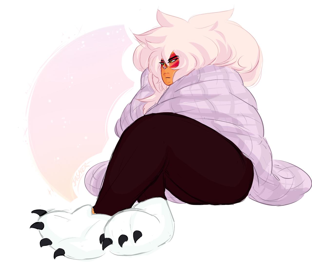 gets fuzzy novelty slippers at walmart immediately draws jasper in them