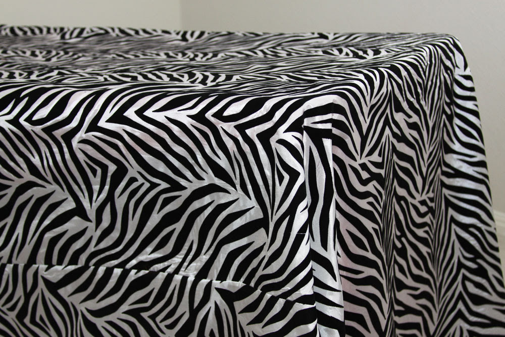 90 x 156 inch Flocking Tablecloth Zebra at CV Linens