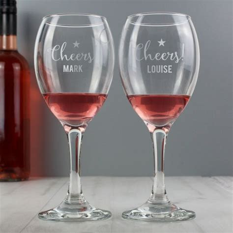 Personalised Cheers Wine Glass Set   Love My Gifts