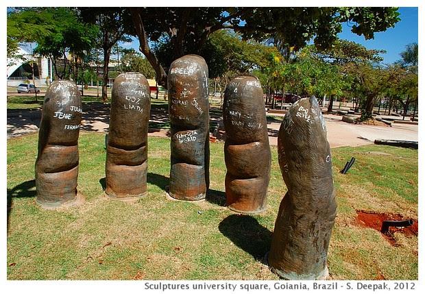 Hand Sculpture university square, Goiania, Brazil