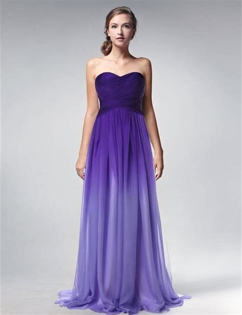 Purple Gradient Chiffon Long Evening Dress 2015 Cheap