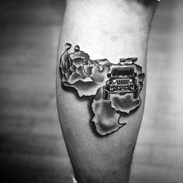 Jeep Africa Mens Leg Calf Tattoo