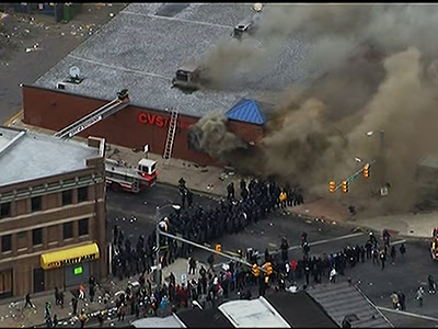 Raw: CVS store up in flames