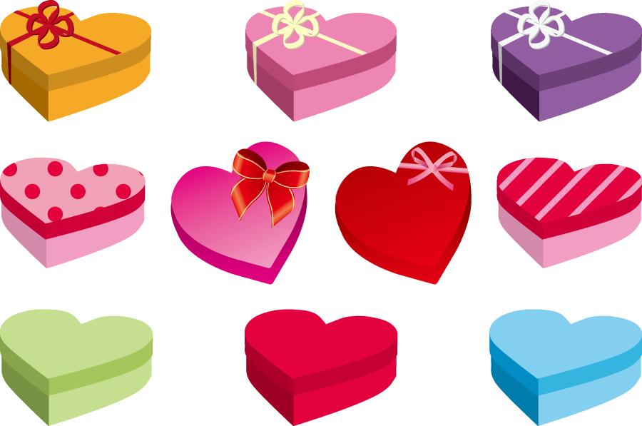 フリーイラスト 10種類のハート型のプレゼント箱のセットでアハ体験