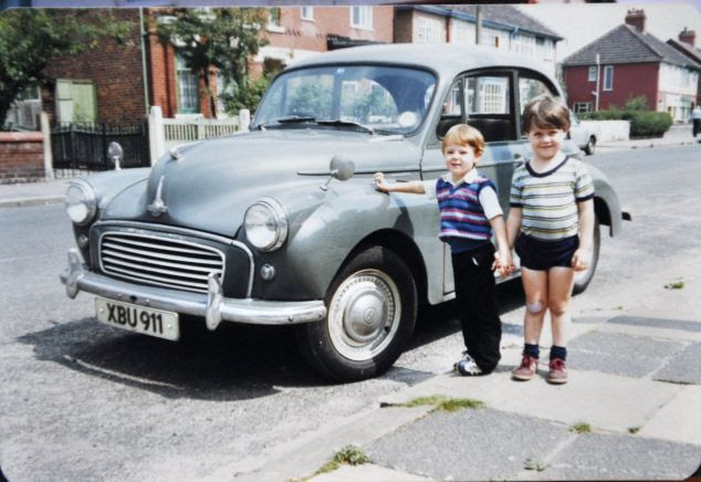 Jack Hepworth's beloved Morris 1000 in 1982 with Peter and Zak - two children from his street in Levenshulme, Manchester