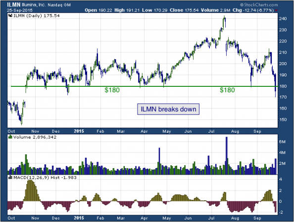 1-year chart of Illumina (NASDAQ: ILMN)